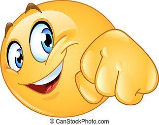 Fist bump emoticon - Emoticon giving a fist bump