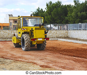 road roller compact foundation - Construction site - road...