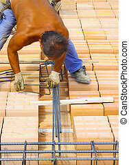 Worker engaged in the construction