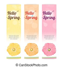 Set of colorful hello spring season banner in vertical