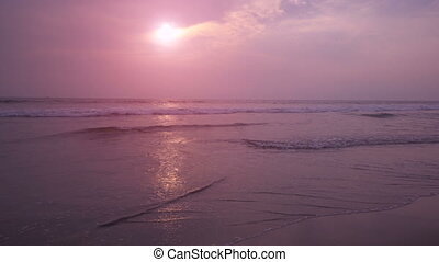 Beautiful sunset at Ashwem beach in Goa