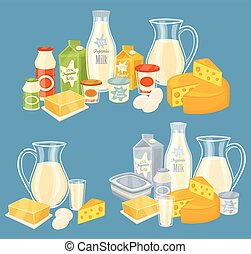 Dairy products isolated, vector illustration. Milk product...