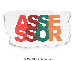 Insurance concept: Assessor on Torn Paper background -...