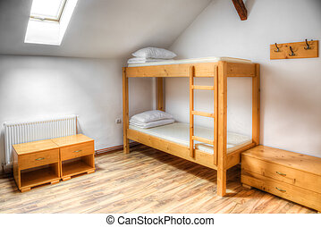 Hostel Room - Clean hostel room with wooden bunk beds