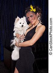 femme, chien, jeune, noir, mains,  sexy, blanc, prise, robe, veuve