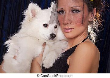 blanc, femme, noir, chien, veuve