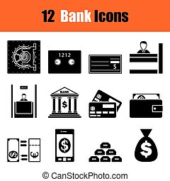 Set of twelve bank icons. Vector illustration.
