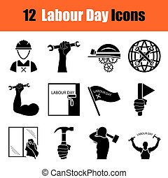 Set of Labour Day icons - Set of twelve Labour Day black...