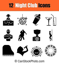 Set of Night club icons - Set of twelve Night club black...