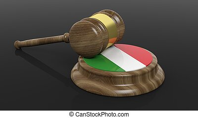 Court hammer with Italian flag on black background