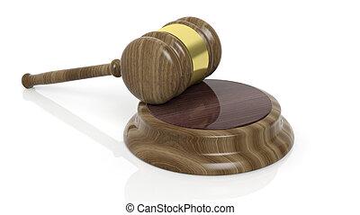 Brown court hammer - Wooden court hammer on white background
