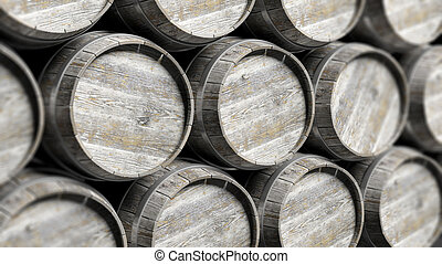 Arranged lines of barrels - Grey wooden barrels of wine in...