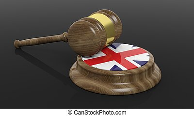 Court hammer with British flag - Court hammer with flag of...
