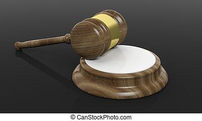 Wooden court hammer - Court hammer on black background