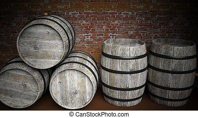 Five barrels in basement - Five grey wooden barrels against...