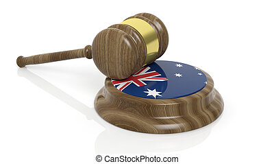 Court hammer with Australian flag - Wooden court hammer and...