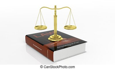 Scales of justice on book of law