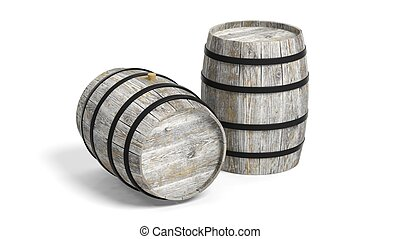 Couple of wine barrels - Two grey wooden barrels on white...