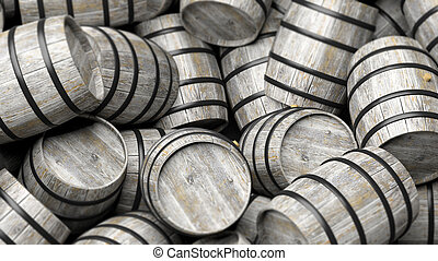 Grey wooden containers - Pile of wooden barrels in close-up