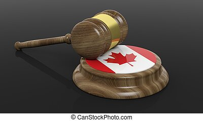 Canadian flag with court hammer - Court hammer and flag of...