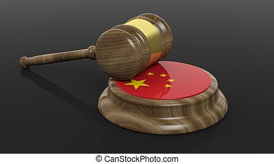 Court hammer with Chinese flag - Flag of China and court...