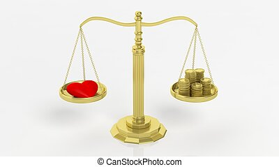 Heart and coins on scales - Golden scales with heart and...
