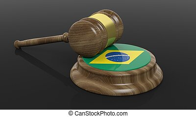 Court hammer and Brazilian flag - Court hammer and flag of...