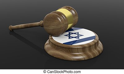 Court hammer and Jewish flag - Court hammer and Israel flag...