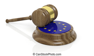 Court hammer with EU flag - Flag of European union and court...