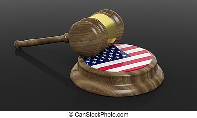 Court hammer with American flag on black background