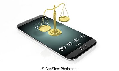 Scales of justice on smartphone - Illustration of golden...