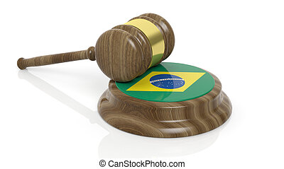 Brazilian flag with court hammer - Court hammer with flag of...