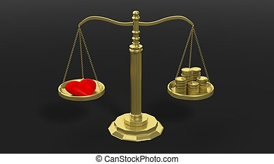 Red heart and coins on scales - Golden scales balancing with...