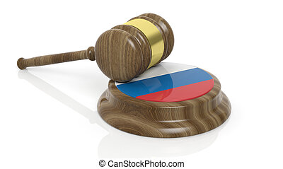 Russian flag with court hammer - Court hammer with flag of...
