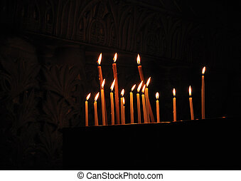 Candles Holy Sepulcher - Candles on Calvary, Church of the...