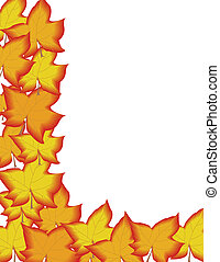 Fall Border - Bright red and yellow leafs making a fall...