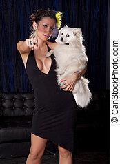femme,  pointin, veuve, chien,  wiht,  sexy, blanc, prise, robe, noir