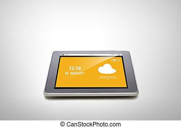 close up of tablet pc with summer hot weather cast - summer,...