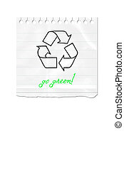 Paper note recycle sign