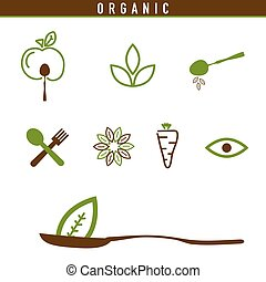organic icon green illustration in colorful