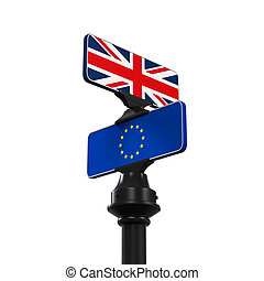 Brexit Direction Sign isolated on white background. 3D...
