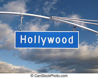 Hollywood Signage - Hollywood Blvd street sign with dramatic...