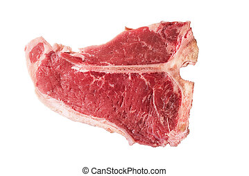 Raw T-bone isolated on white background. Close up.