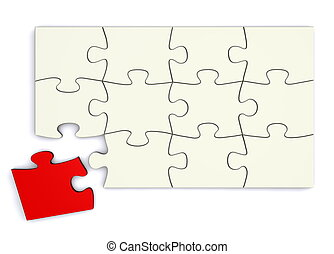 White Puzzle - Red Piece Separate - white puzzle with a...