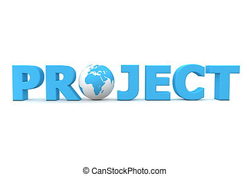 Project World Blue - blue word Project with 3D globe...