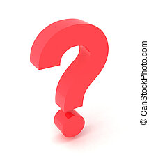 Question - 3d illustration of a sign question on a white...