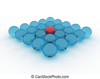 Balls - Illustration of blue glass balls, with one red...