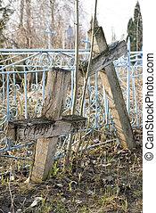 desconocido, viejo, Cruces, cristiano, tumbas