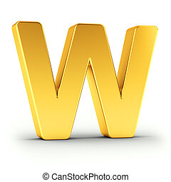 The letter W as a polished golden object with clipping path