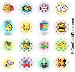 Gambling icons set, comics style - Gambling icons set in...
